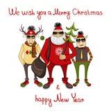 Julbakgrund med hipsterjultomten Royaltyfria Foton