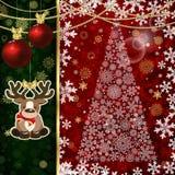 Julbakgrund med julbollar, dekorbeståndsdelar och snöflingor stock illustrationer