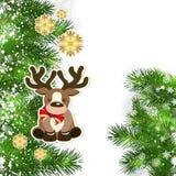 Julbakgrund med juldekoren och gröna filialer av royaltyfri illustrationer