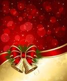 Julbakgrund med klockor och oskarpa lampor Arkivbild
