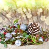 Julbakgrund med med ljus Royaltyfria Foton