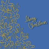 Julbakgrund med pepparkakamanen Arkivfoto