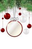 Julbakgrund med prislappen, bollar och granen Arkivbilder