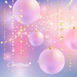 Julbakgrund med pärlor och bollar Arkivfoto