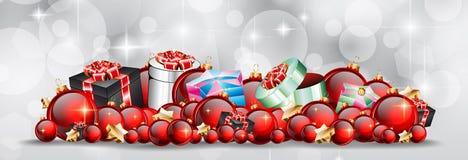 Julbakgrund med röda skinande struntsaker för din säsongsbetonade Fl Arkivbild