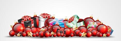 Julbakgrund med röda skinande struntsaker för din säsongsbetonade Fl Royaltyfria Bilder