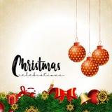 Julbakgrund med realistisk garnering vektor illustrationer