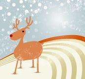 Julbakgrund med renen Stock Illustrationer