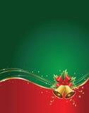 Julbakgrund med sätta en klocka på stock illustrationer