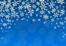 Julbakgrund med snöflingor vektor illustrationer