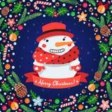 Julbakgrund med snögubbear royaltyfri illustrationer