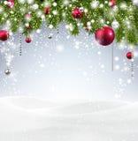 Julbakgrund med snow Arkivfoto