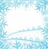 Julbakgrund med snowflakes och trees Royaltyfri Fotografi