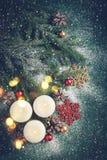 Julbakgrund med stearinljus och snö Detaljerade 3d framför Fotografering för Bildbyråer