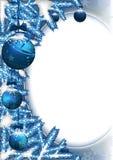 Julbakgrund med struntsaker och barrträds- filialer Royaltyfri Foto