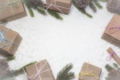 Julbakgrund med tomt utrymme för text royaltyfri fotografi