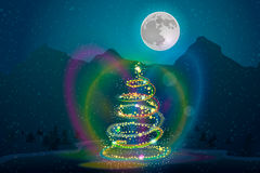 Julbakgrund med trädet, stjärnor, måne, berg Fotografering för Bildbyråer