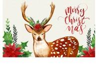 Julbakgrund med vattenfärghjortar Arkivbilder