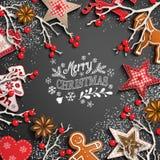 Julbakgrund med vita text och garneringar vektor illustrationer