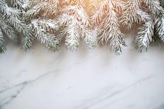 Julbakgrund med xmas-trädet på vit marmorbakgrund Hälsningkort för glad jul, ram, baner Tema för vinterferie fotografering för bildbyråer
