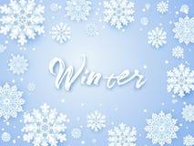 Julbakgrund, vita snöflingor på grå färger Fyrkantig ram med garnering Vintermalldesign för affischer, reklamblad stock illustrationer