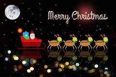 Julbakgrunder på molnet med Santa Claus och renen Arkivbild