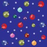 Julbakgrundsgarneringar och snöflingor Arkivbilder