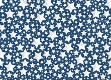 Julbakgrundsstjärnor på blått Arkivbilder