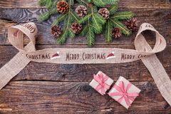 Julband på träbakgrund Fotografering för Bildbyråer