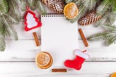 Julbaner med det gröna trädet, kottar, apelsinen, kanel och anteckningsboken på vit träbakgrund Royaltyfria Foton