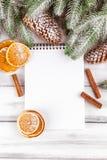 Julbaner med det gröna trädet, kottar, apelsinen, kanel och anteckningsboken på vit träbakgrund Royaltyfri Fotografi