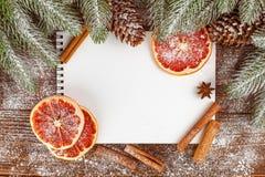 Julbaner med det gröna trädet, kottar, handgjorda filtgarneringar, apelsinen och kanel på vit träbakgrund Royaltyfri Foto
