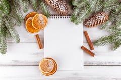 Julbaner med det gröna trädet, kottar, handgjorda filtgarneringar, apelsinen och kanel på vit träbakgrund Töm utrymme fo Royaltyfria Bilder