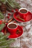 Julbaner med det gröna trädet, kottar, röd kopp med varm choklad, röd garnering, kanel på brun träbakgrund Royaltyfri Foto