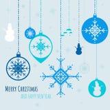 Julbaner med garneringsnöflingor och julleksaker också vektor för coreldrawillustration royaltyfri illustrationer
