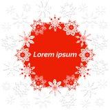 Julbaner med snöflingor på en vit, en röd bakgrund och ett ställe för text Arkivfoton