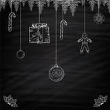 Julbaner på den svart tavlan Arkivfoto