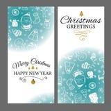 Julbaner ställde in med designbeståndsdelar i klotterstil Med snöramar på vit bakgrund stock illustrationer