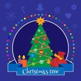 Julbanret med en julgran dekorerade med leksakvektorillustrationen Royaltyfria Foton