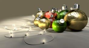JulBaubles och felika lampor royaltyfri illustrationer