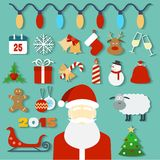 Julbegrepp med plan symboler och jultomten Arkivfoto