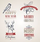 Julbegrepp med typografi och band Royaltyfria Foton