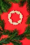 Julbegreppsbakgrund med sörjer trädet Royaltyfria Bilder