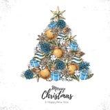 Julbegreppsdesign Dekorativ julgran för ferie vektor illustrationer