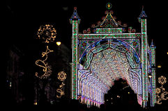 Julbelysning i natten, Sibiu Royaltyfri Bild