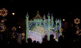 Julbelysning i natten, Sibiu Royaltyfria Bilder