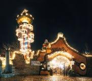 Julbelysningar i Abensberg, Tyskland Royaltyfria Foton