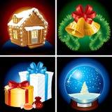Julbeståndsdelar stock illustrationer