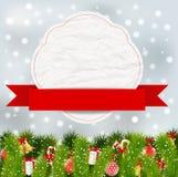 Julbeståndsdelar med banret Royaltyfria Foton