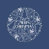 Julbeståndsdelar ordnas i en cirkel royaltyfri illustrationer